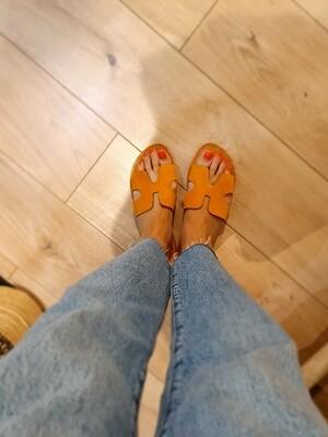 Mules H croûte de daim couleur abricot