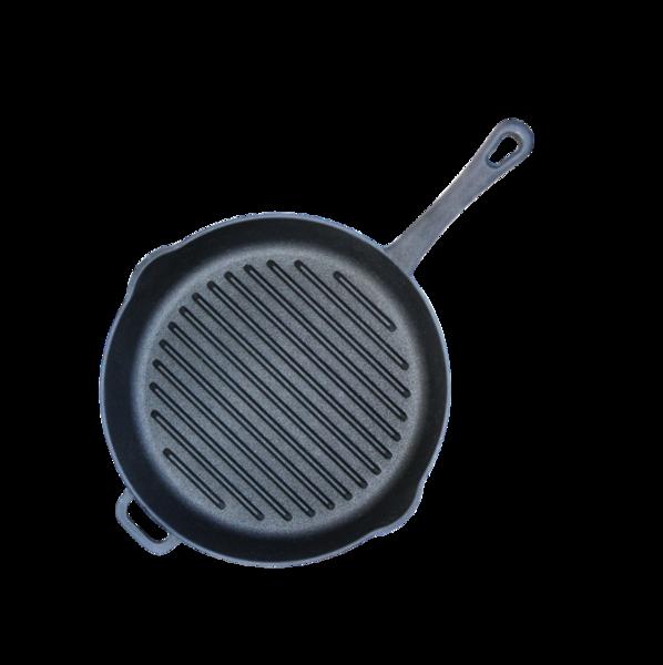 Сковорода-гриль чугунная, круглая, диаметр 26 см, с литой ручкой, арт. 1126