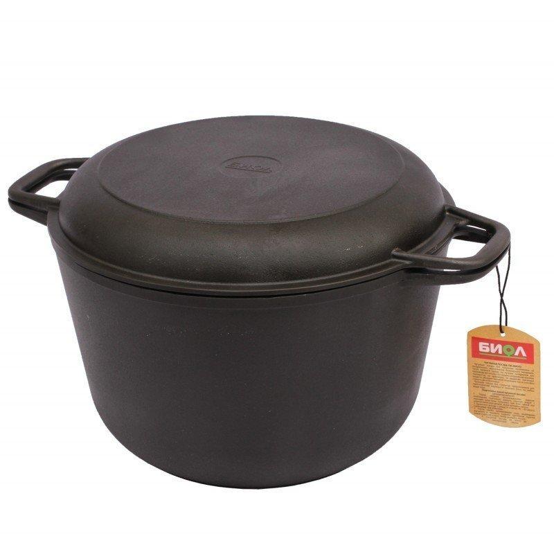 Кастрюля чугунная литая с крышкой-сковородой, 4 л, 22 см, арт. 0204