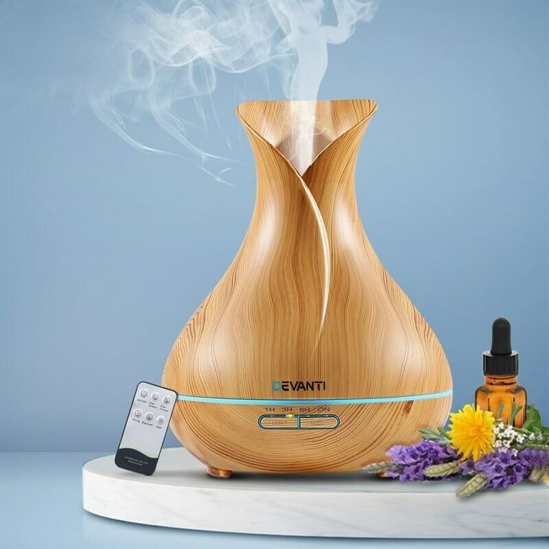 Devanti 400ml 4 in 1 Aroma Diffuser remote control - Light Wood