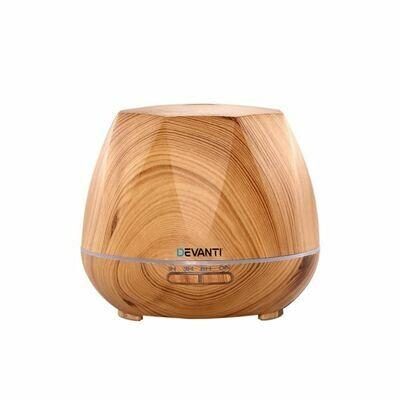 Devanti Aromatherapy Diffuser LED Air Humidifier 400ml Light Wood