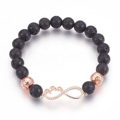 Aromatherapy Natural Lava Bead Stretch Bracelet with Infinity symbol
