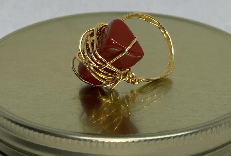 Red Jasper Ring Size 10