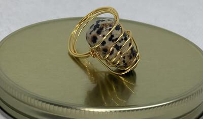 Dalmatian Jasper Ring Size 12