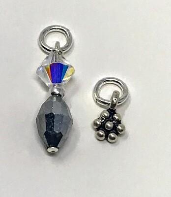 J-Silver Crystal Drop w/Flower