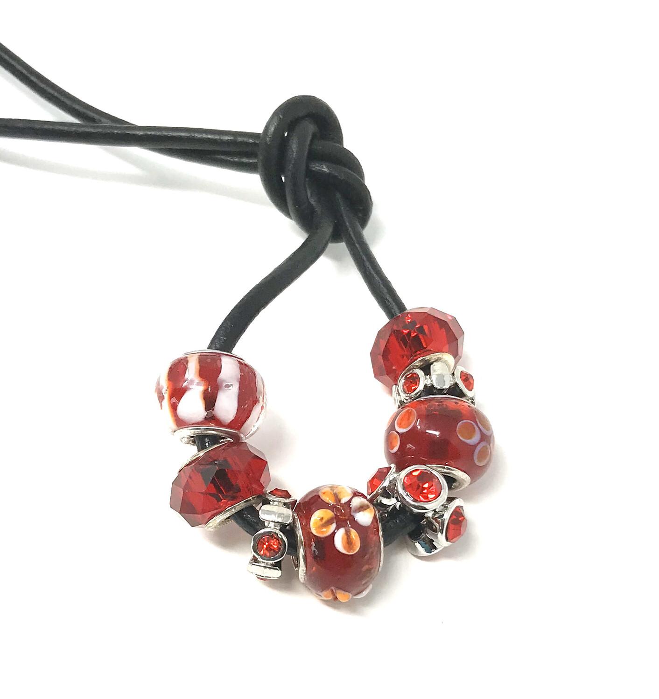 Loc Tie - Red Flowers