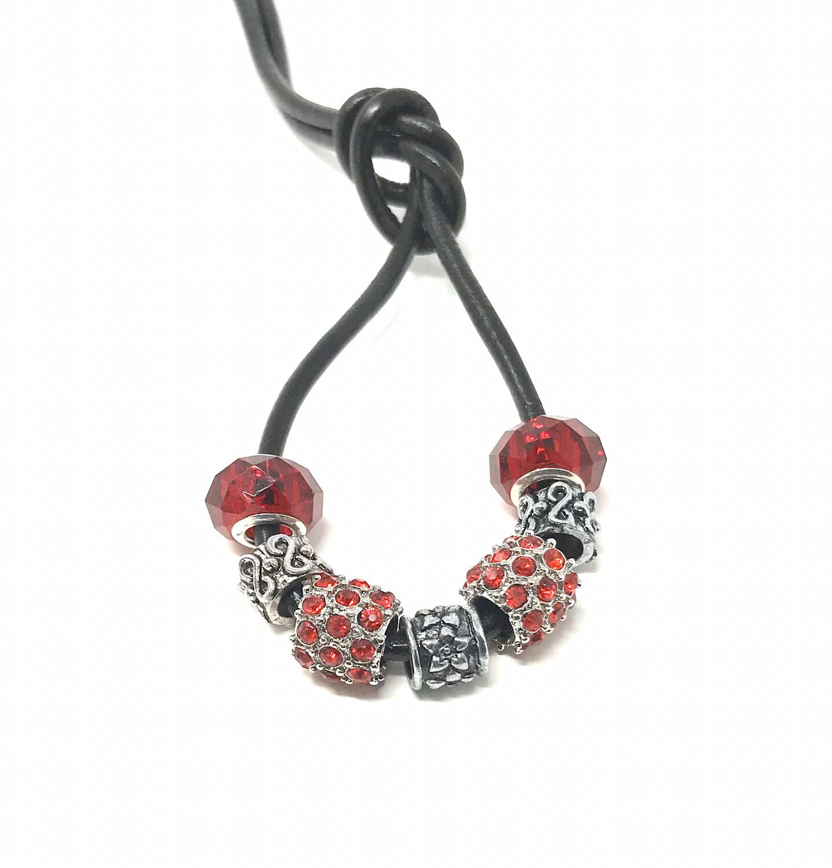 Loc Tie - Red Crystals