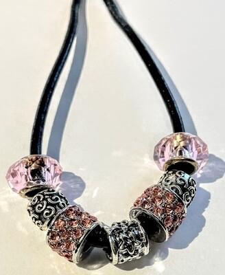 LT - Loc Tie - Pink Crystals
