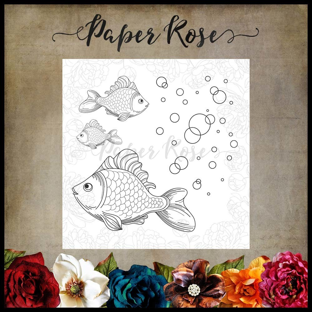 Paper Rose - Fish & Bubbles Cling Rubber Stamp