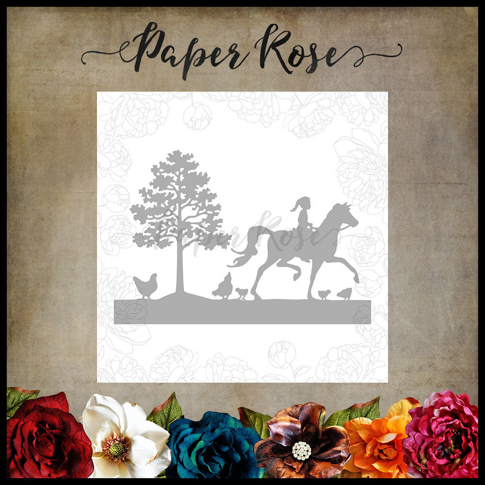 Paper Rose - Afternoon Ride, Girl on Horse with Chickens Metal Die