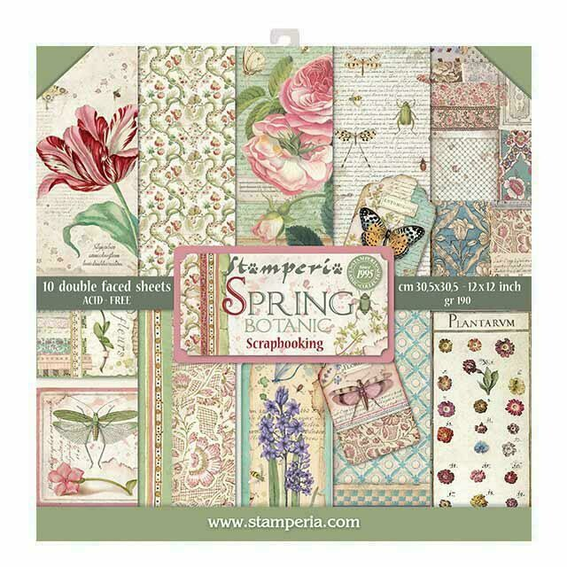 "Spring Botanic - Stamperia Double-sided Paper Pad 12""x12"""