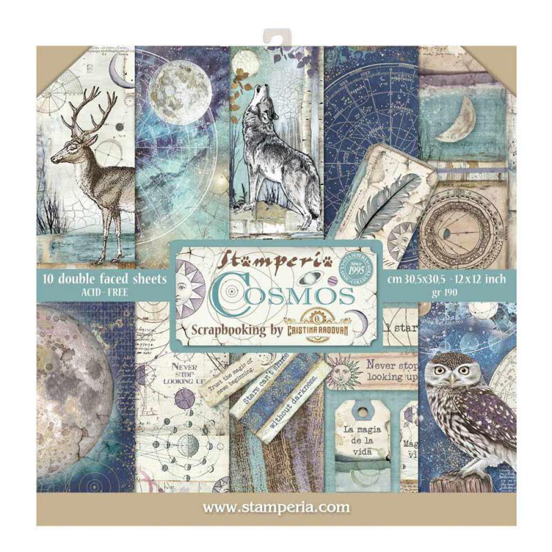 """Cosmos - Stamperia Double-sided Paper Pad 12""""x12"""""""