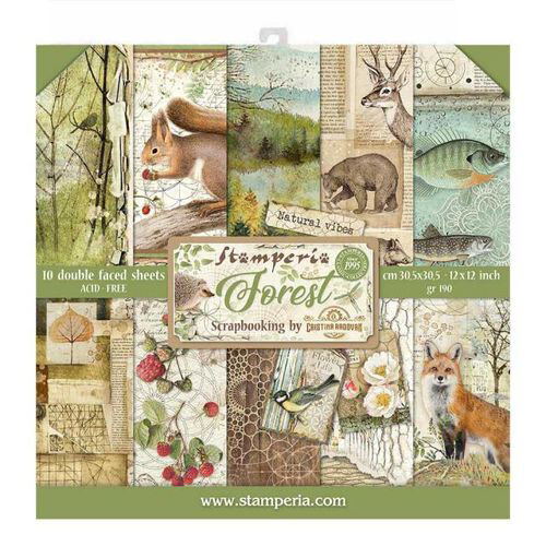 "Forest - Stamperia Double-sided Paper Pad 12""x12"""