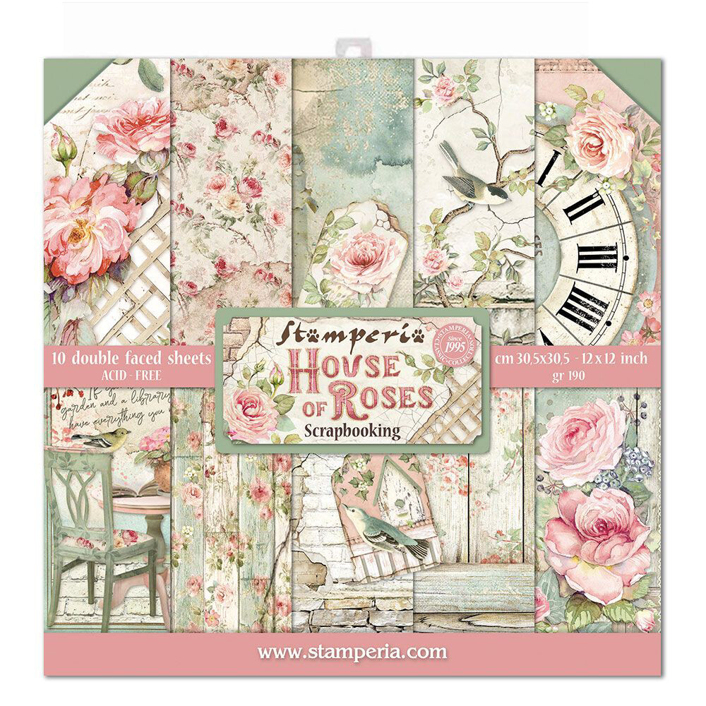 "House of Roses - Stamperia Double-sided Paper Pad 12""x12"""