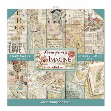 "Imagine - Stamperia Double-sided Paper Pad 12""x12"""