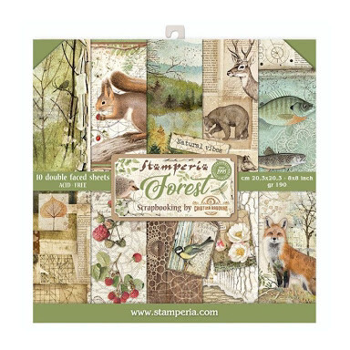 "Forest - Stamperia Double-sided Paper Pad 8""x8"""