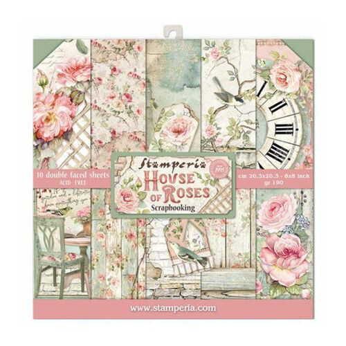 """House of Roses - Stamperia Double-sided Paper Pad 8""""x8"""""""