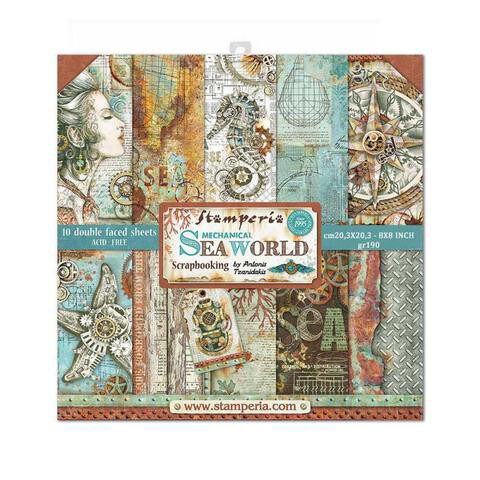 "Mechanical Sea World - Stamperia Double-sided Paper Pad 8""x8"""