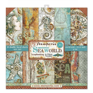 "Mechanical Sea World - Stamperia Double-sided Paper Pad 12""x12"""
