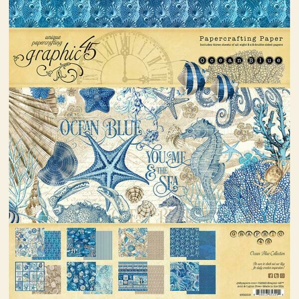 """Graphic 45 - Ocean Blue 8""""x8"""" Double-Sided Paper Pad"""