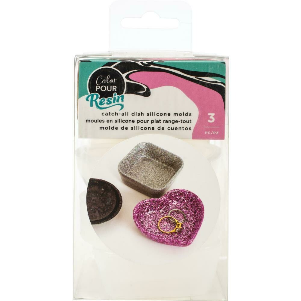 Colour Pour Resin Mould - Catch All Dish - Square, Circle & Heart 3/Pkg