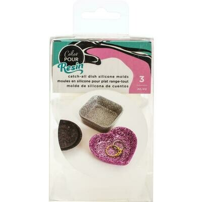 Catch All Dish - Square, Circle & Heart - Colour Pour Resin Mould 3/Pkg