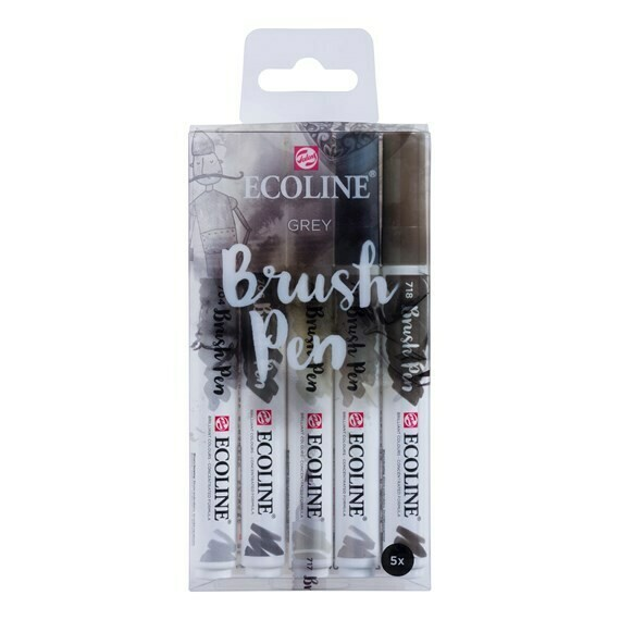 Ecoline Brush Pen Set of 5 - Grey