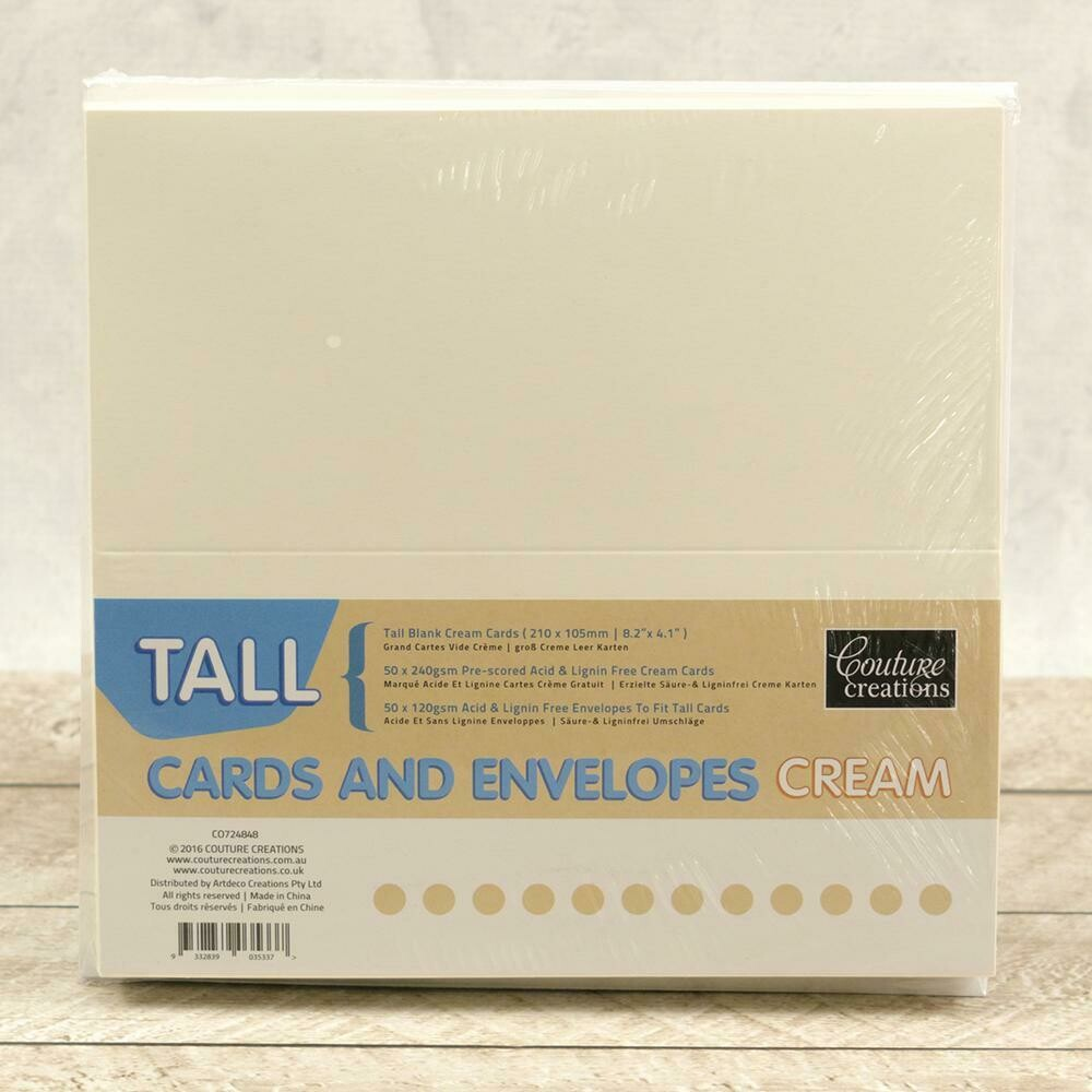 Tall (DL) Card + envelope set - Cream (50 pack)