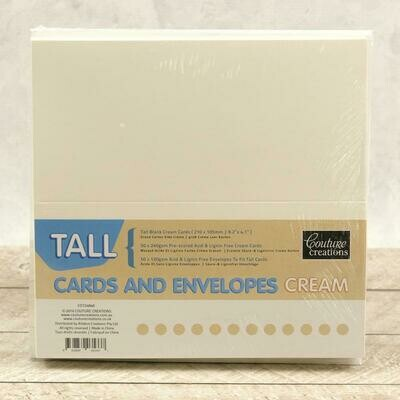 Tall (DL) Card + envelope set - Cream (50 pack)