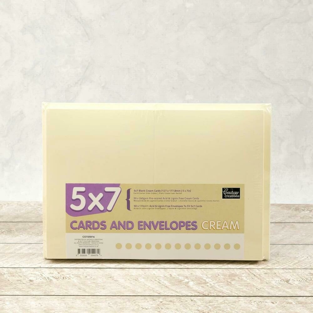 "5x7"" Card + envelope set - Cream (50 pack)"