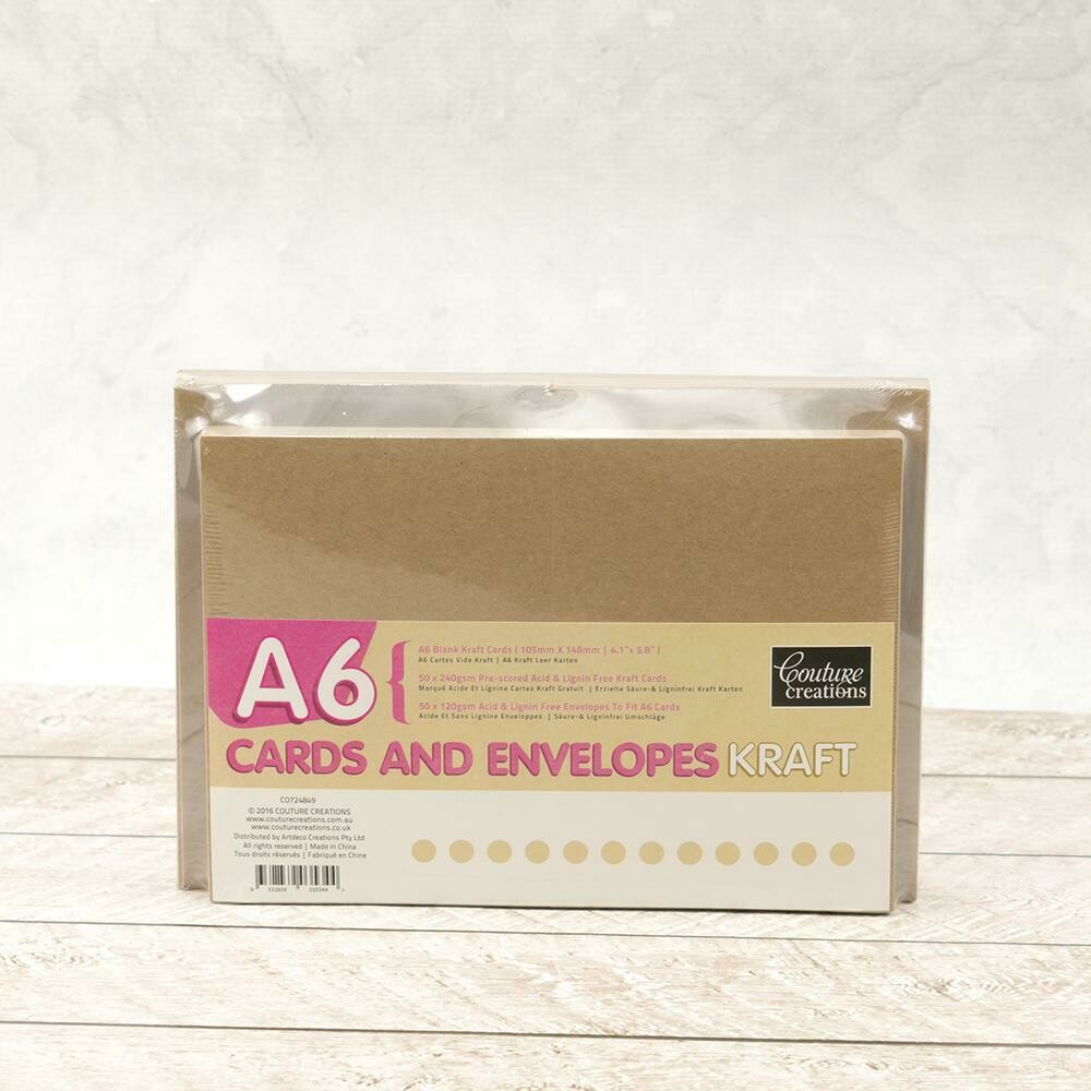 A6 Card + envelope set - Kraft (50 pack)