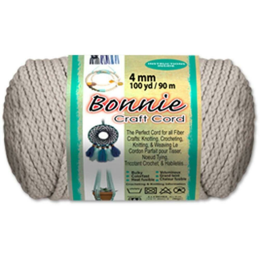 Bonnie Macrame Craft Cord 4mm - Lambs Wool (100yds)