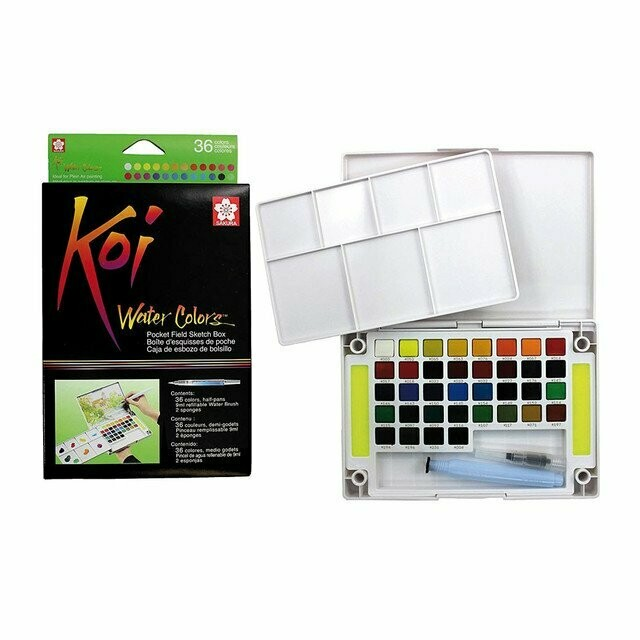 Koi Watercolour Field Box - 36 Assorted