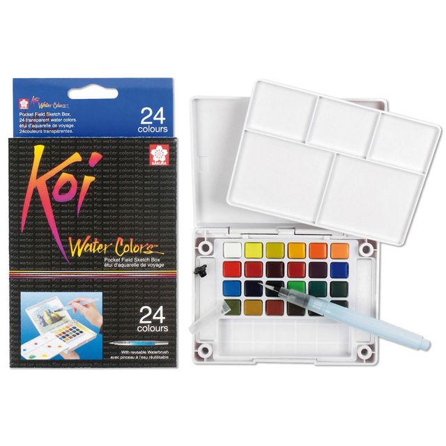 Koi Watercolour Field Box - 24 Assorted