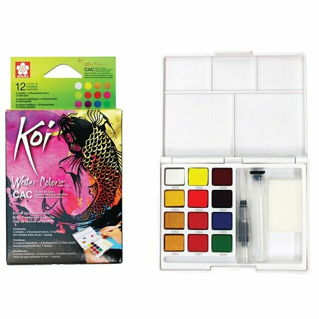 Koi Creative Art Watercolour Field Box - 12 Assorted