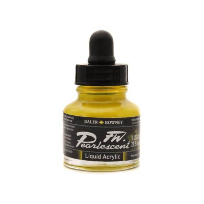 Daler-Rowney FW Pearlescent Acrylic Ink - Hot Cool Yellow 29.5ml