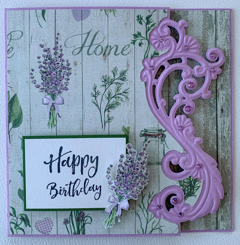 Happy Birthday Lavender Card - Paper & Embellishment Pack
