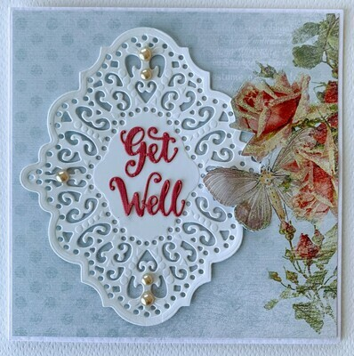 Pale Blue Butterfly Card - Paper & Embellishment Pack