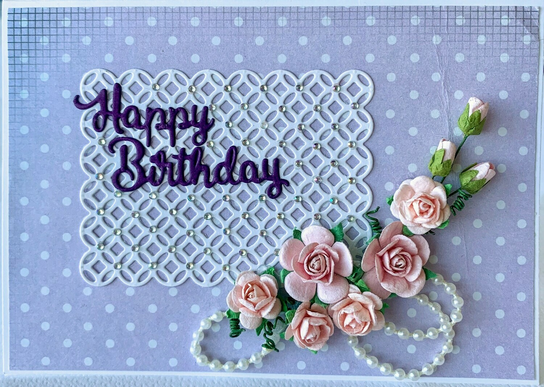 Purple Spot Happy Birthday Card - Paper & Embellishment Pack