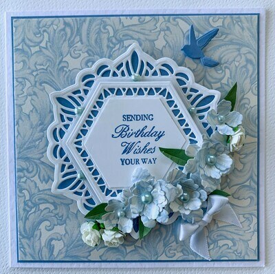 Blue & White Layered Card - Paper & Embellishment Pack