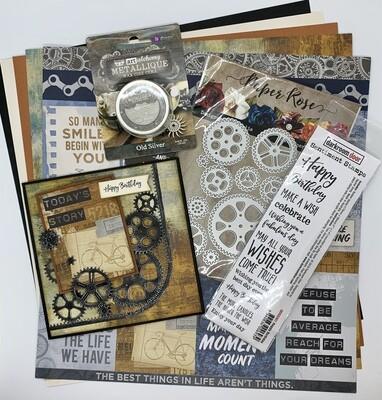 Cog Background Card - Paper & Embellishment Pack