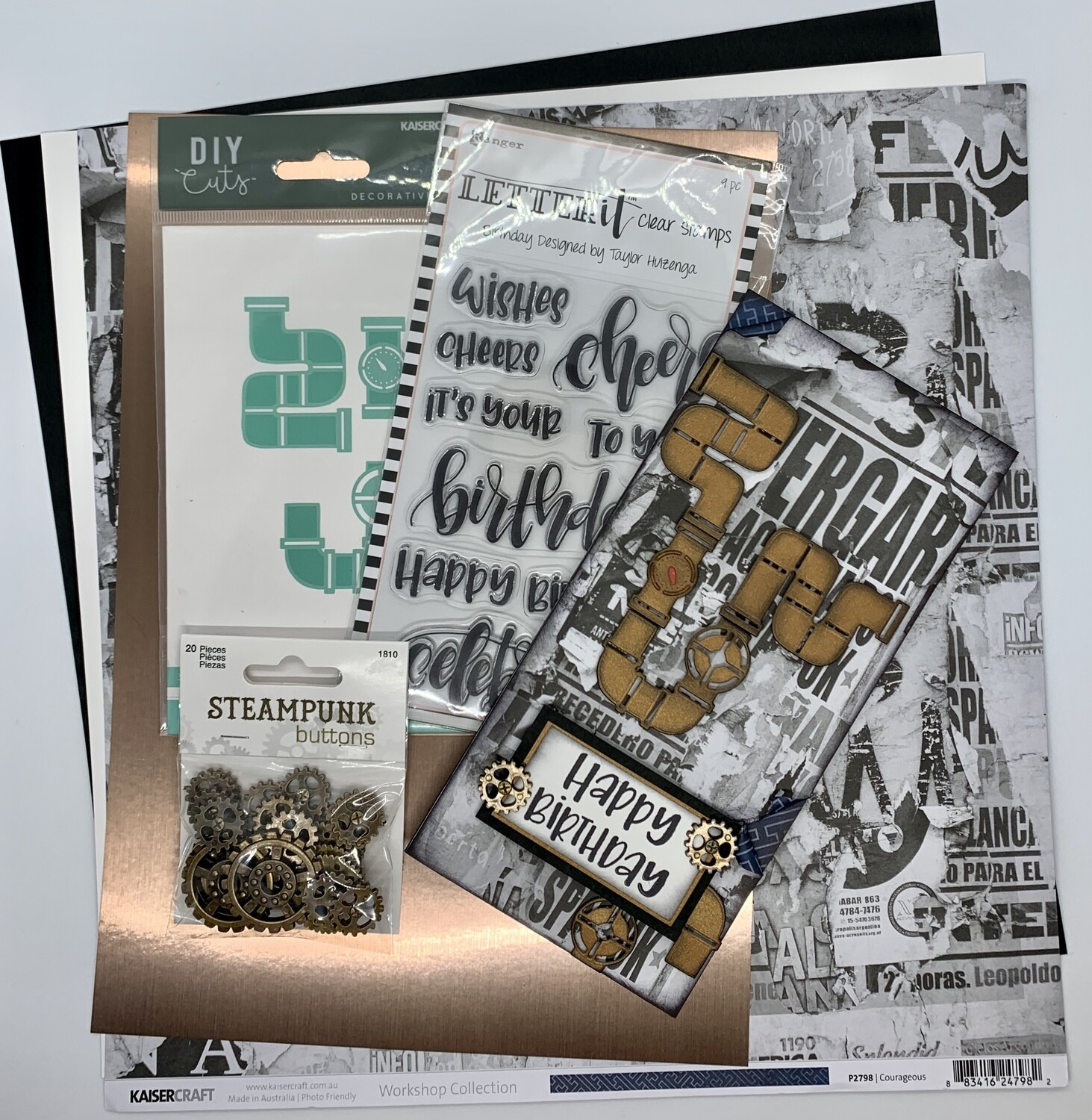 Pipe Work Card - Paper & Embellishment Pack