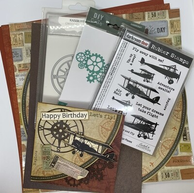 Vintage Plane Card - Paper and Embellishment Pack