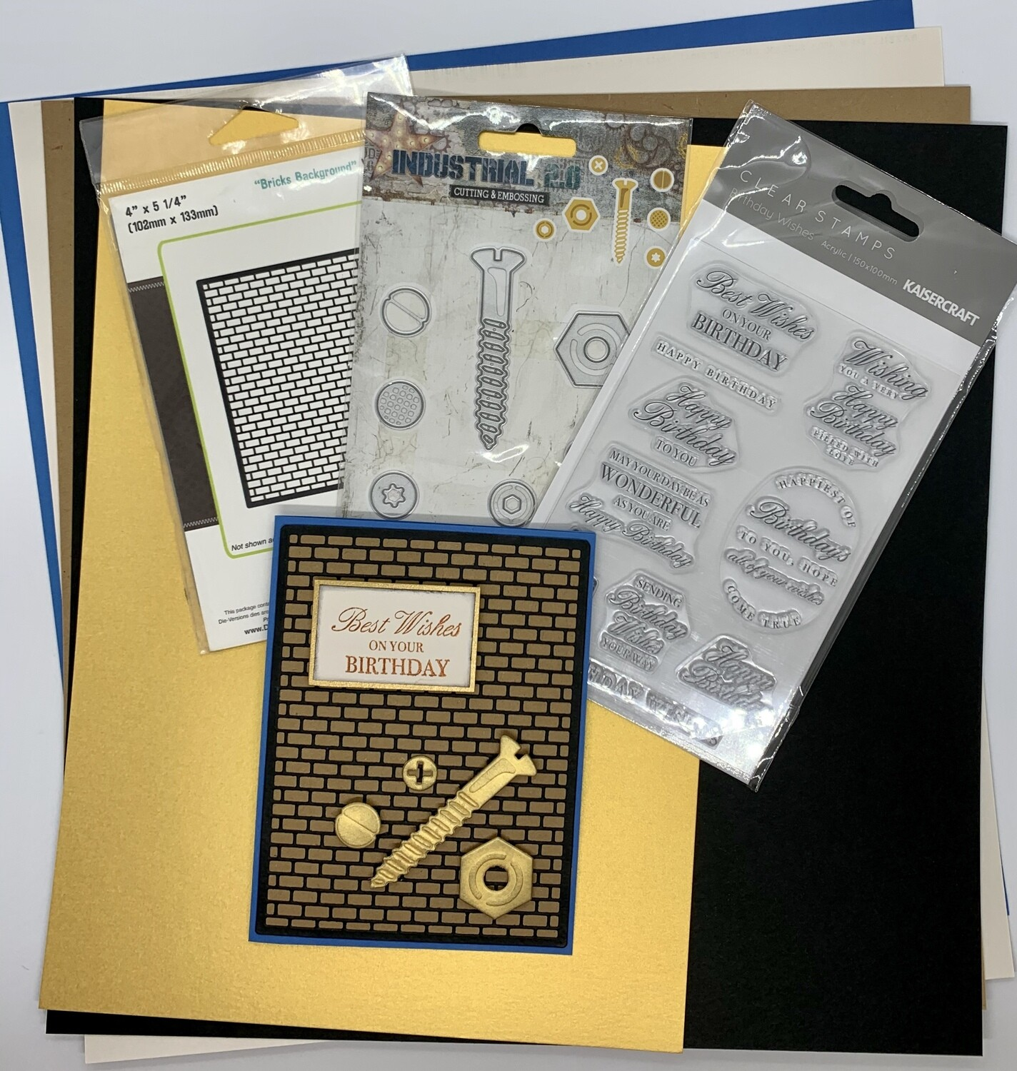 Nuts & Bolts Card - Paper and Embellishment Pack