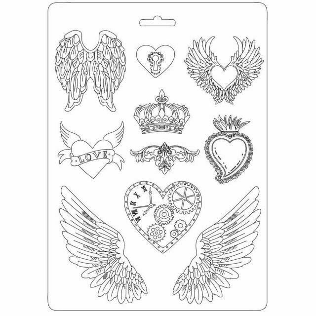 Stamperia A4 Soft Maxi Moulds - Heart & Wings