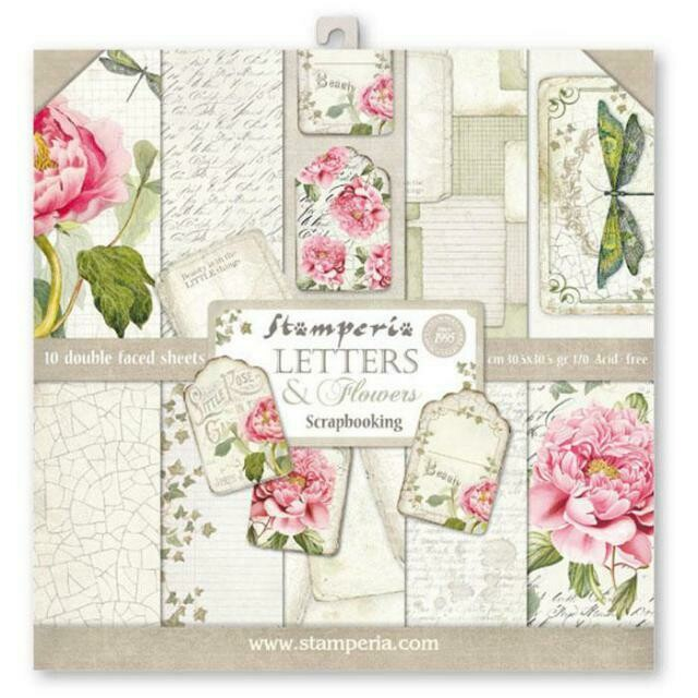 "Letters & Flowers - Stamperia Double-sided Paper Pad 12""x12"""