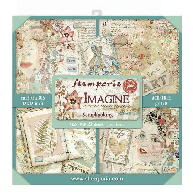 "Imagine - Stamperia Double-sided Block 22 Sheet Paper Pad 12""x12"""