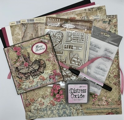 Pink Dress Card - Paper & Embellishment Pack