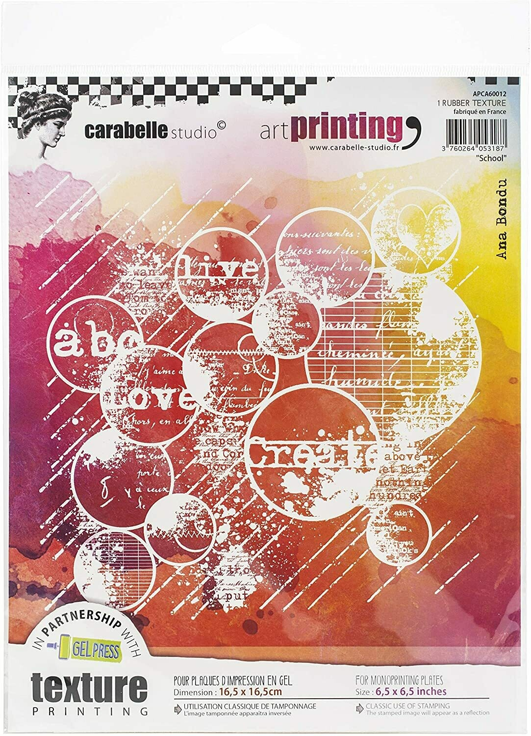 "6"" Square - School Bubbles - Carabelle Studio Art Printing Rubber Texture"