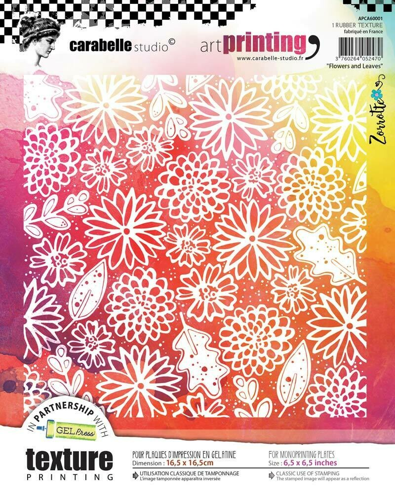 """6"""" Square - Flowers & Leaves - Carabelle Studio Art Printing Rubber Texture"""